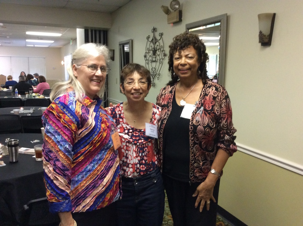 Carol Ludwig, Nancy Cartelli, and Yvette Boodhoo reconnect on the opening night of our anniversary celebration. (Image credit: Ellen Kalenberg)