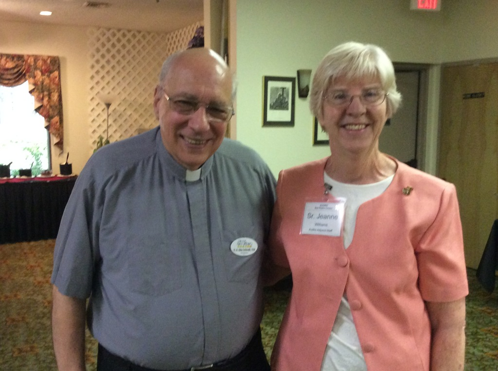 Fr. Giles and Sr. Jeanne Williams gather in joy with our community. (Image credit: Ellen Kalenberg)