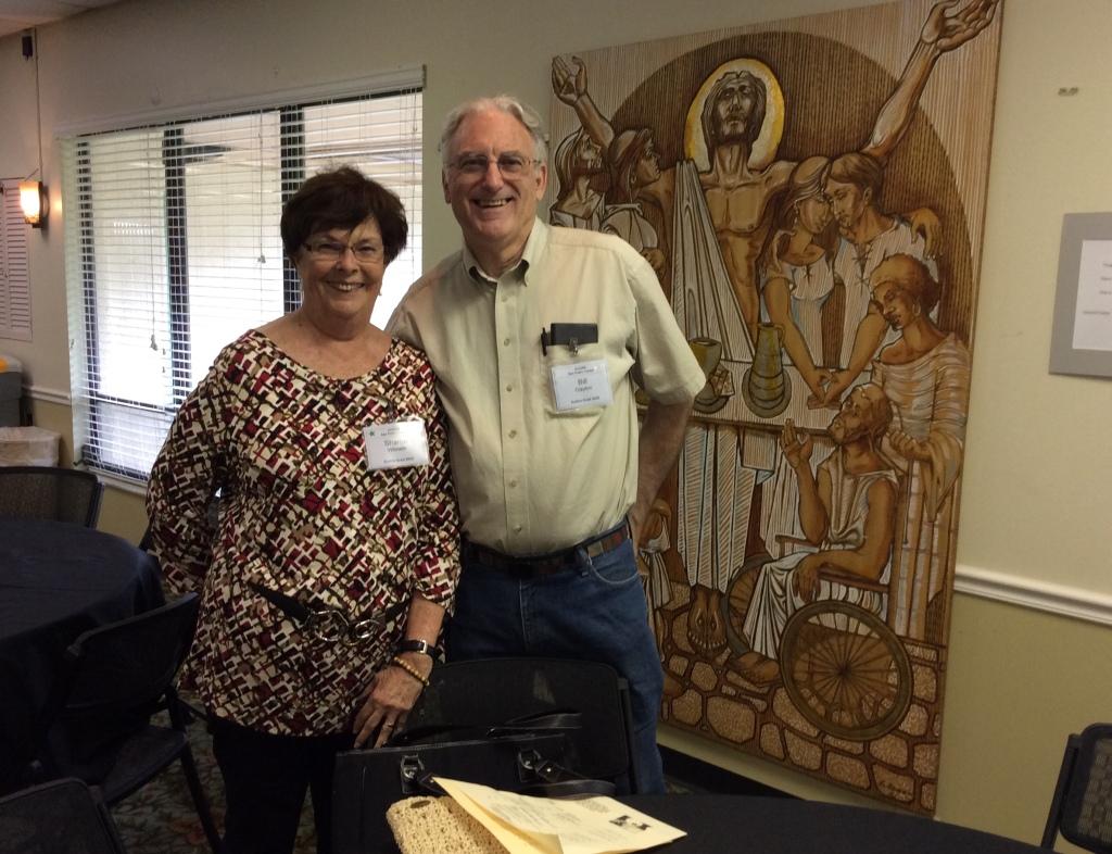 Sharon Wilmeth and Bill Clayton are pleased to celebrate with the gathering. (Image credit: Ellen Kalenberg)