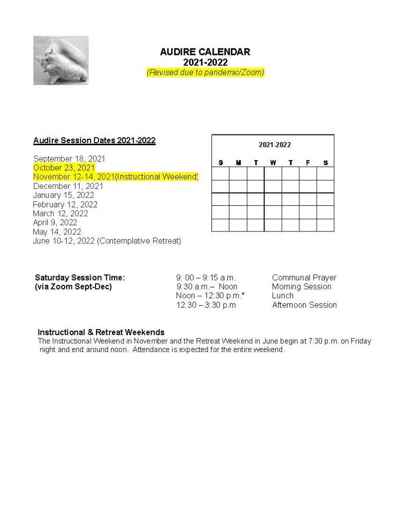 Audire Class Schedule/Calendar
